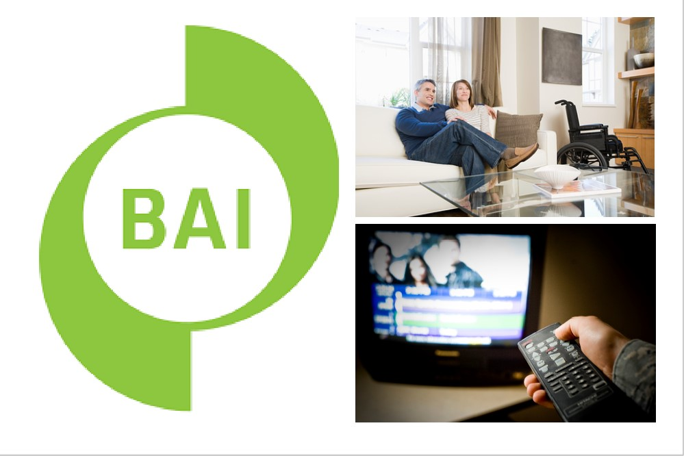 BAI  logo, couple relaxing on sofa, TV and remote control.