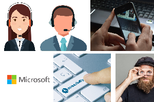Cartoon of Microsoft Operators , phone and keyboard.