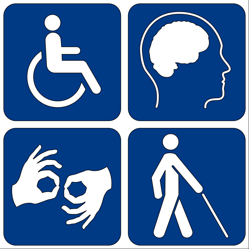 Symbols for wheelchair user, sign language, person with walking cane and brain.