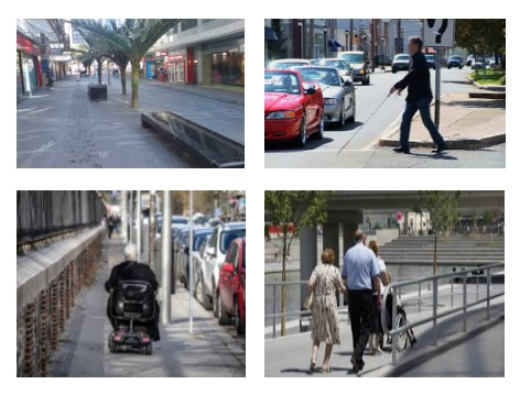Accessible Street, Visually impaired person crossing a road using a cane, man in powered wheelchair, wheelchair user accompanied by a man and a woman.