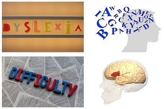 Examples of fonts which could cause problems for people with dyslexia, human brain image.