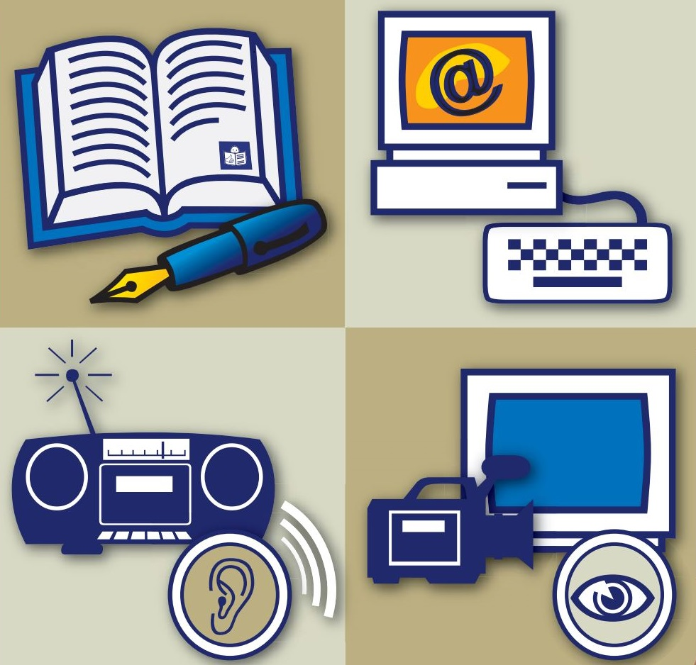 Cartoon images of a notepad and pen, a computer, a radio and a camera and monitor.